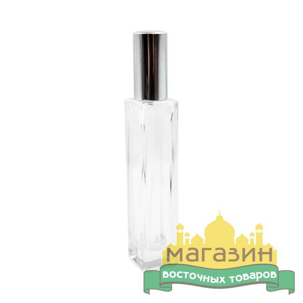 Тара для духов стеклянная (50мл) серебро