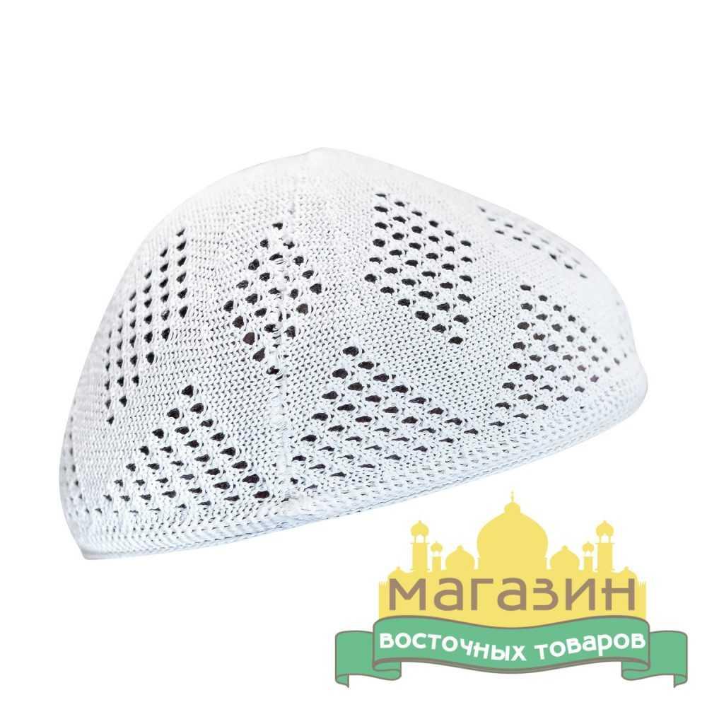 Тюбетейка белая, плетёная шапочка